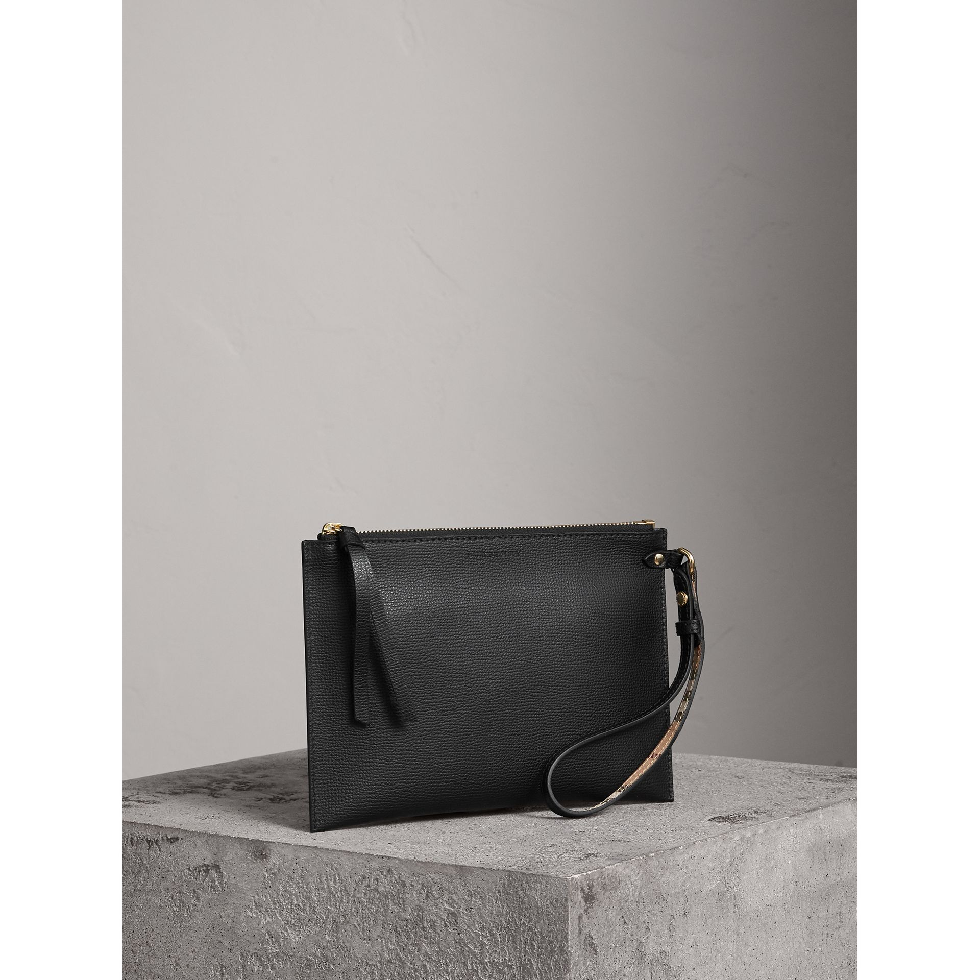 Haymarket Check and Leather Pouch in Black - Women | Burberry Canada - gallery image 6