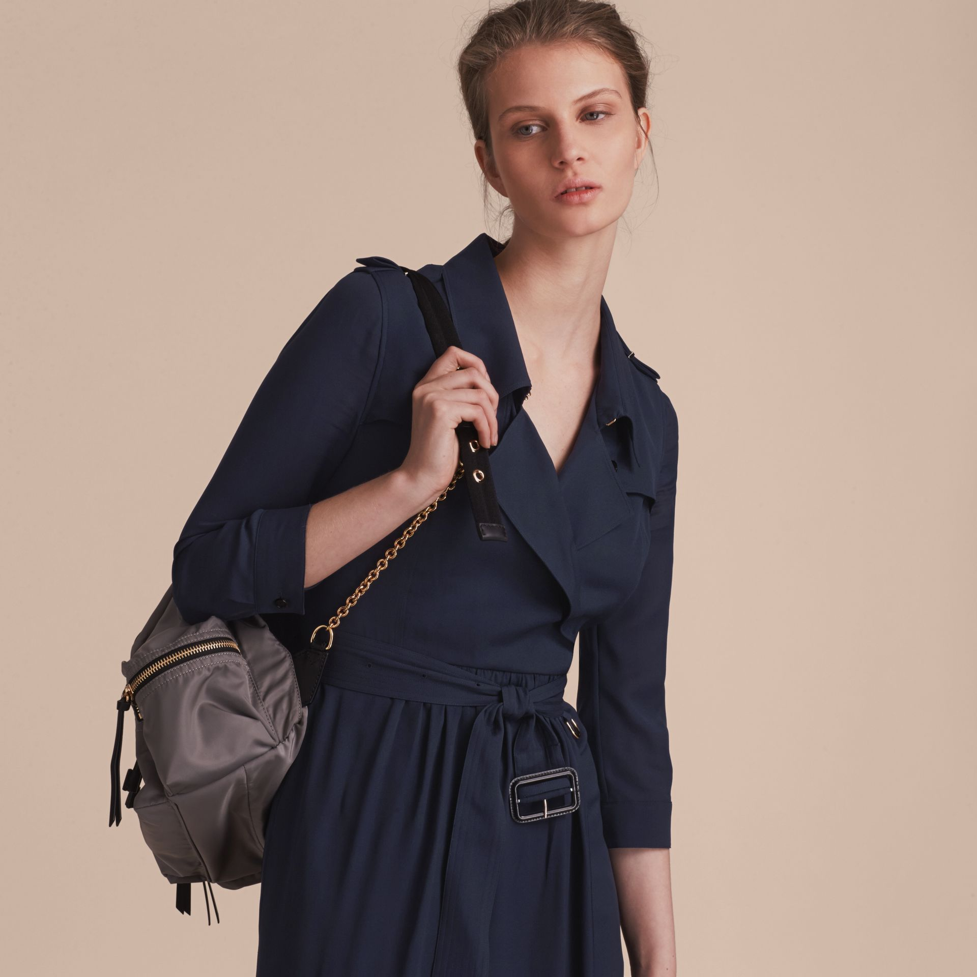 Silk Trench Dress Navy - gallery image 6