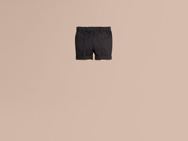 Inchiostro Pantaloncini chino in cotone con dettagli check Inchiostro - cell image 2