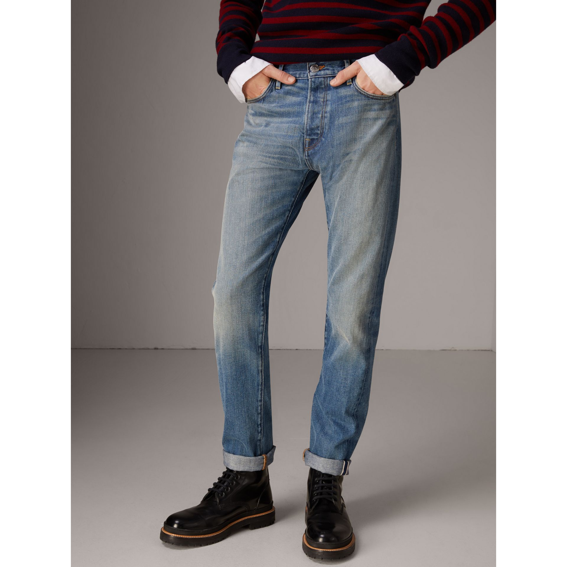 Relaxed Fit Washed Japanese Selvedge Denim Jeans in Light Indigo - Men | Burberry United Kingdom - gallery image 5