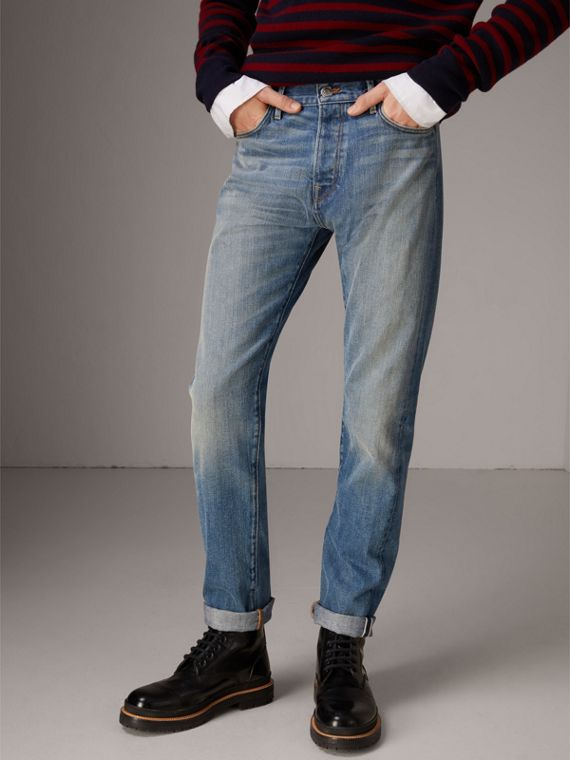 Relaxed Fit Washed Japanese Selvedge Denim Jeans in Light Indigo