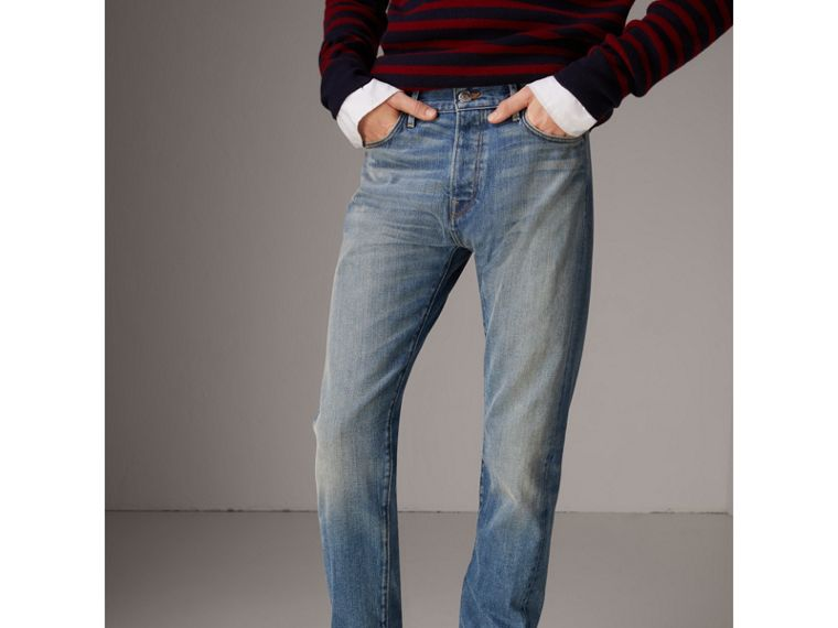 Relaxed Fit Washed Japanese Selvedge Denim Jeans in Light Indigo - Men | Burberry United Kingdom - cell image 4