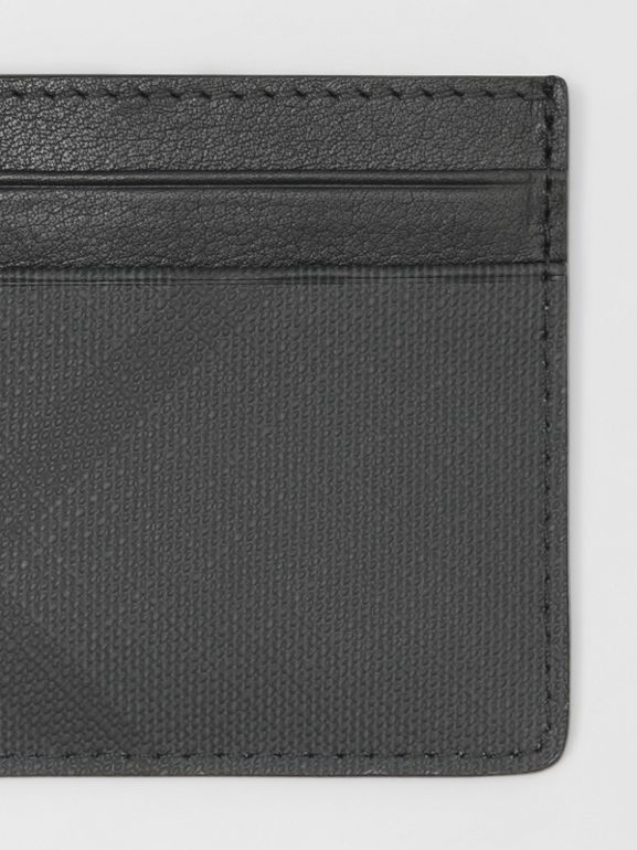 London Check and Leather Card Case in Dark Charcoal - Men | Burberry - cell image 1