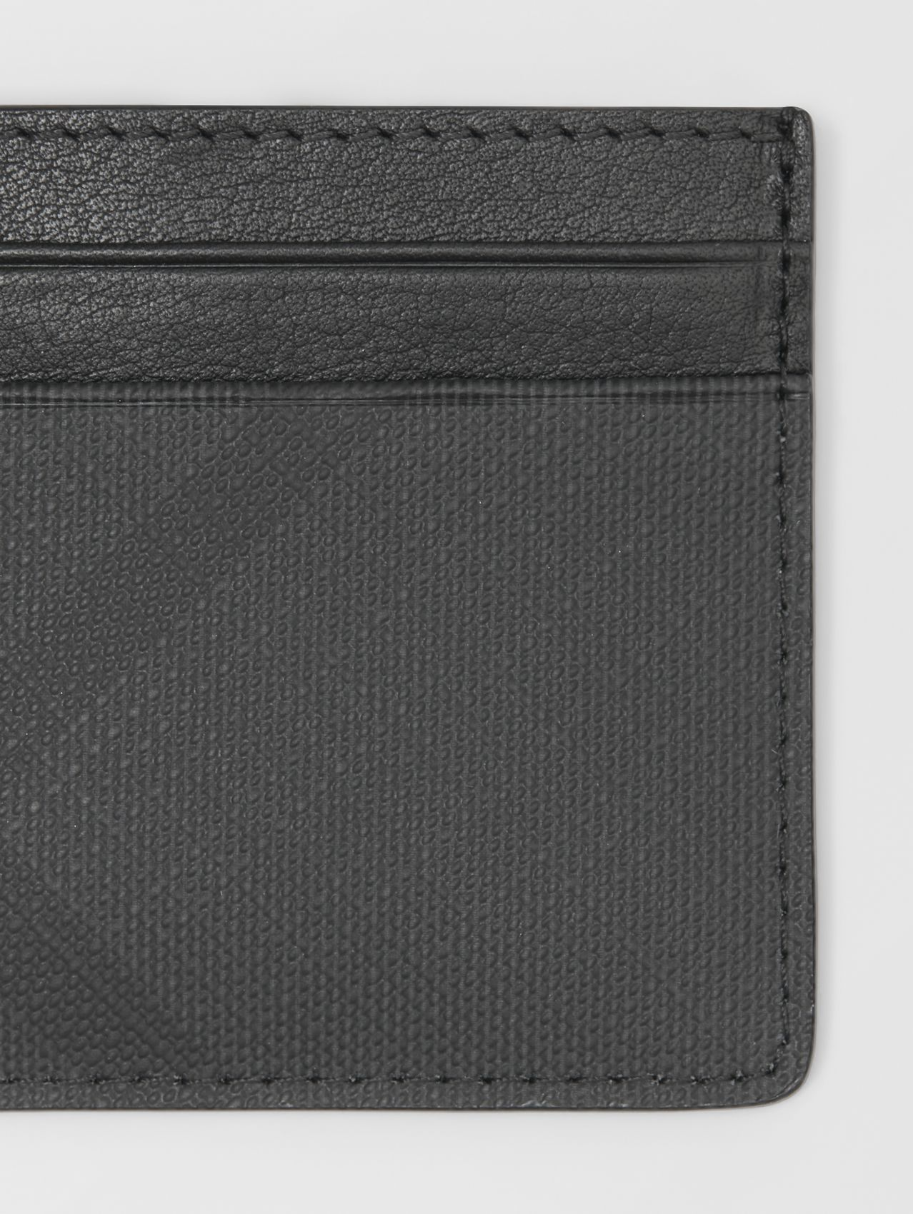 London Check and Leather Card Case (Dark Charcoal)