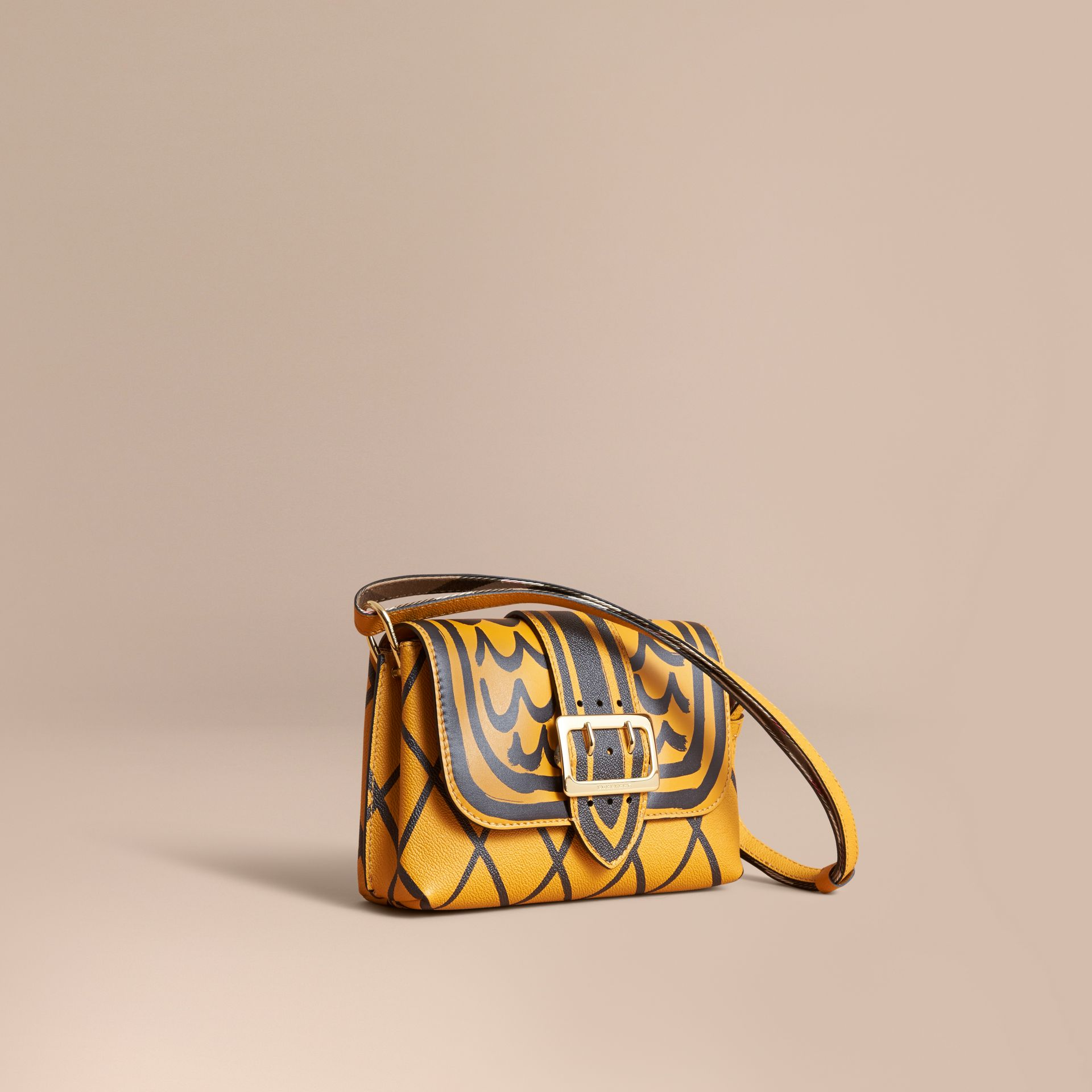 The Buckle Crossbody Bag in Trompe L'oeil Leather in Bright Straw - gallery image 1