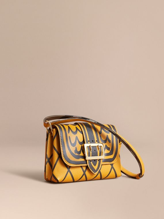 The Buckle Crossbody Bag in Trompe L'oeil Leather Bright Straw