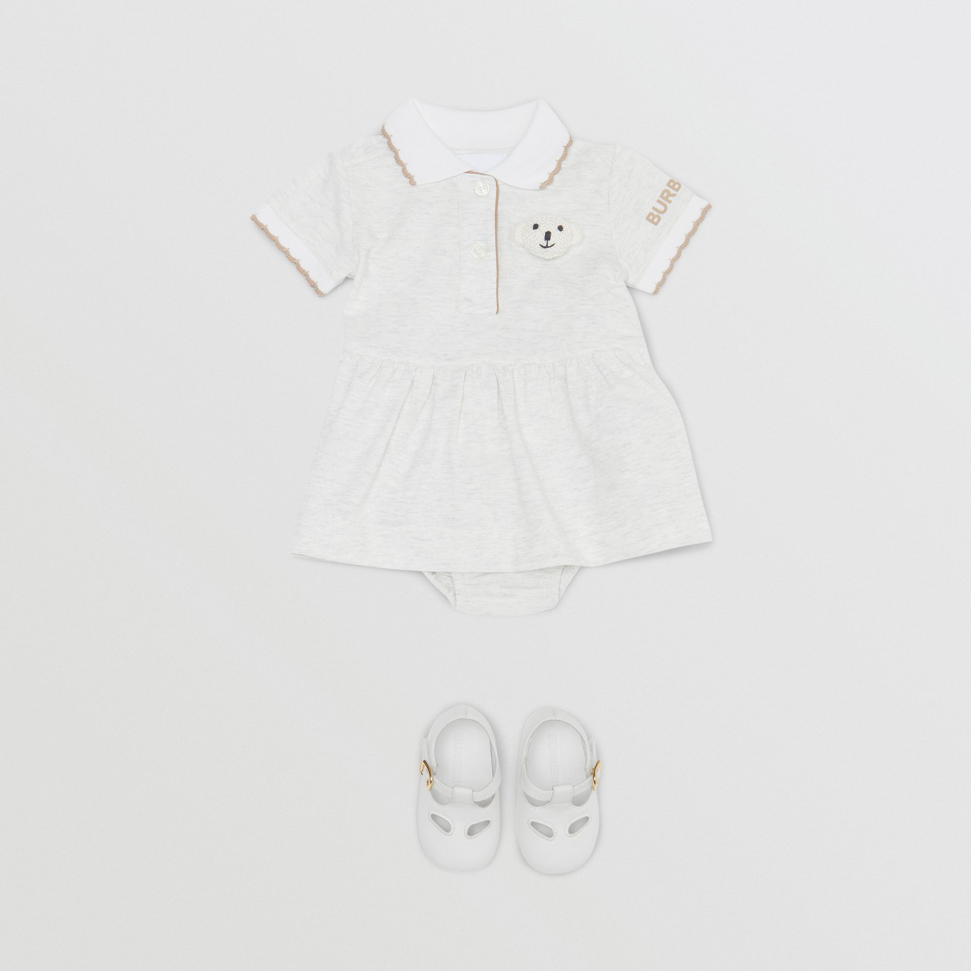 Thomas Bear Detail Stretch Cotton Dress with Bloomers in White Melange - Children | Burberry United Kingdom - gallery image 2