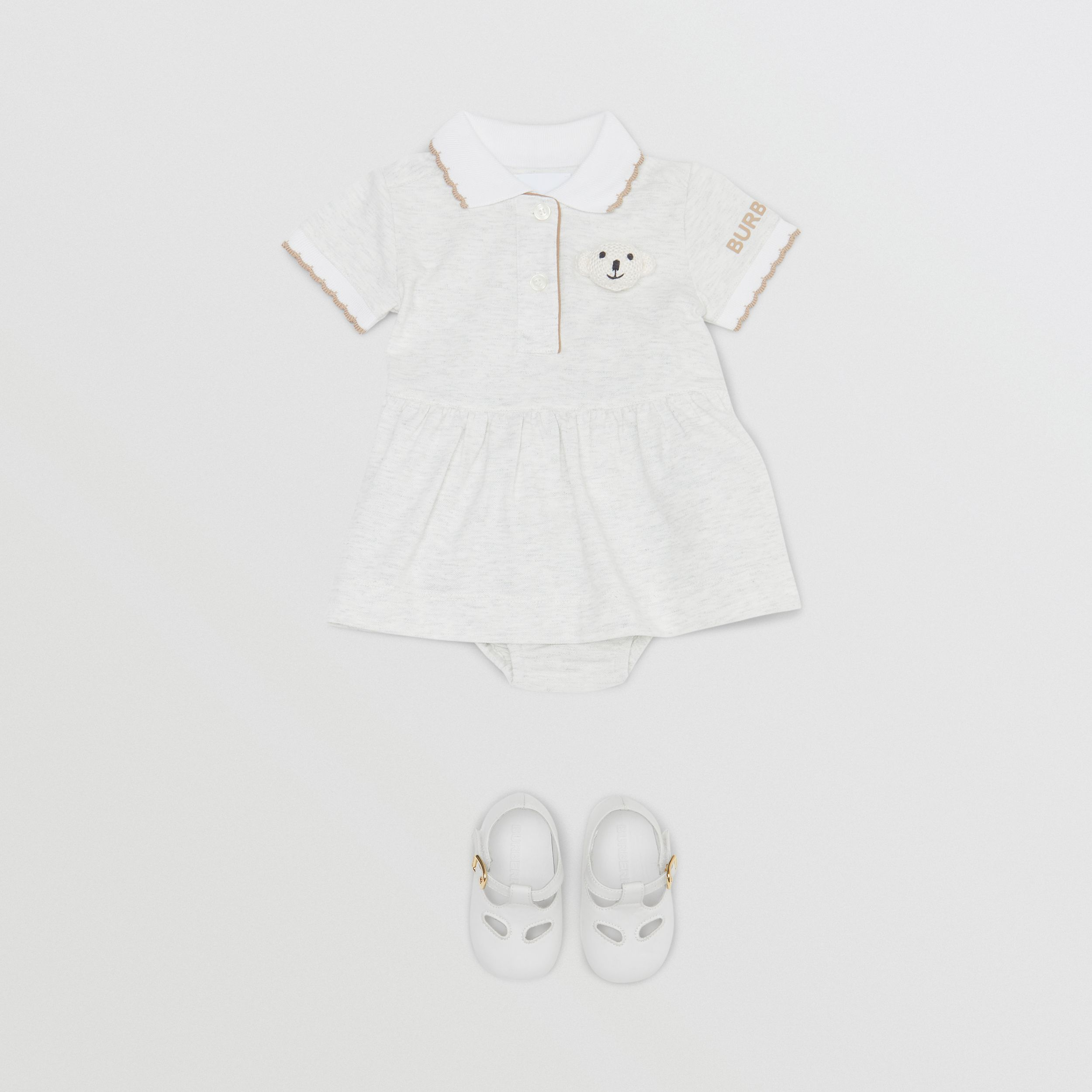 Thomas Bear Detail Stretch Cotton Dress with Bloomers in White Melange - Children | Burberry - 3