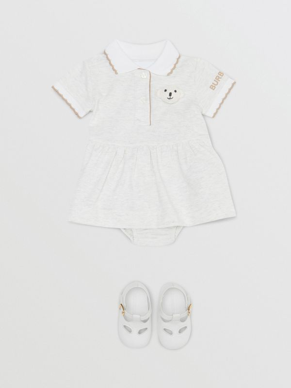 Thomas Bear Detail Stretch Cotton Dress with Bloomers in White Melange - Children | Burberry United States - cell image 2