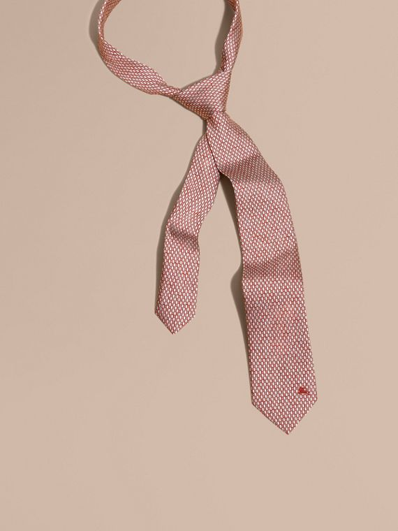 Modern Cut Silk Jacquard Tie Parade Red