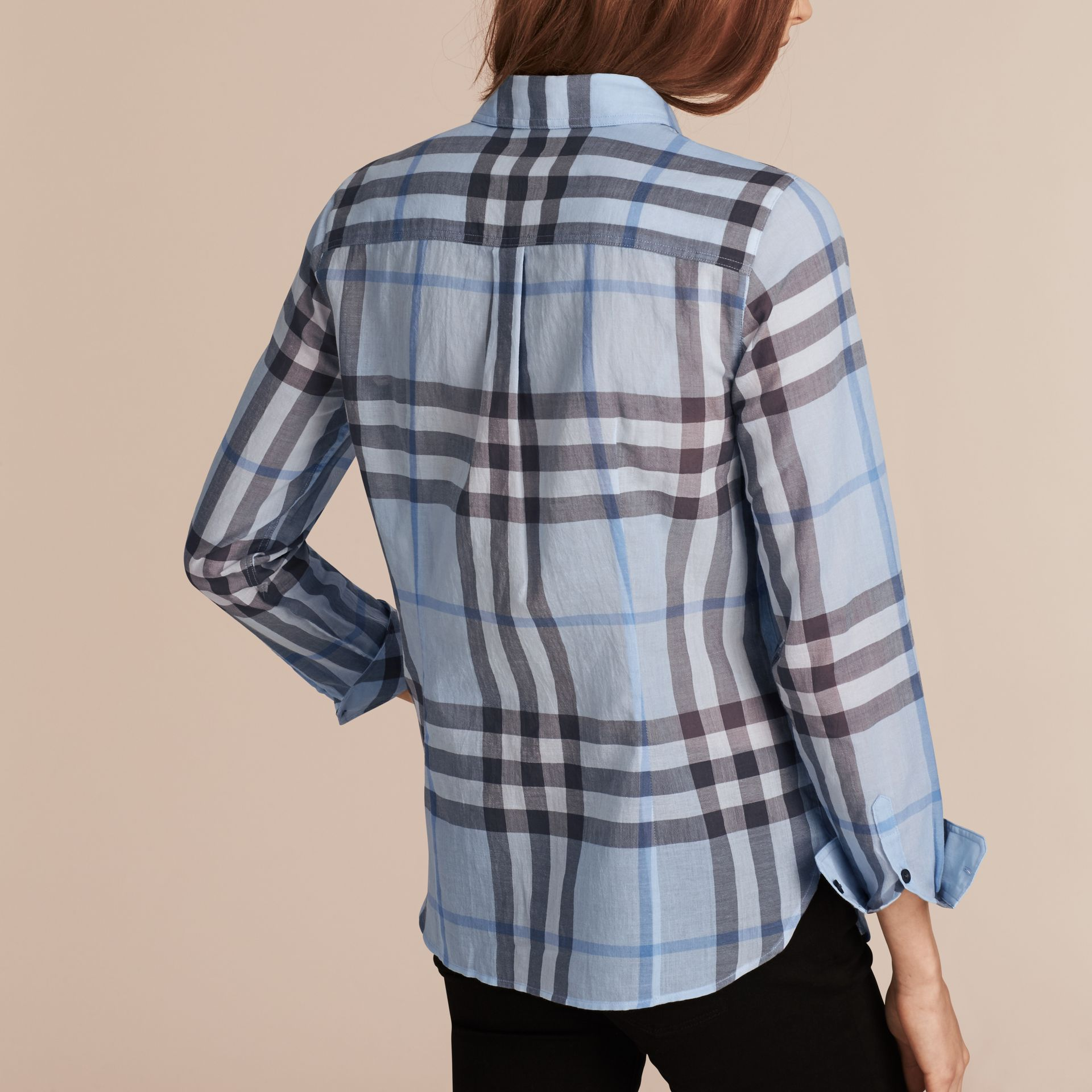 Mineral blue Check Cotton Shirt Mineral Blue - gallery image 3