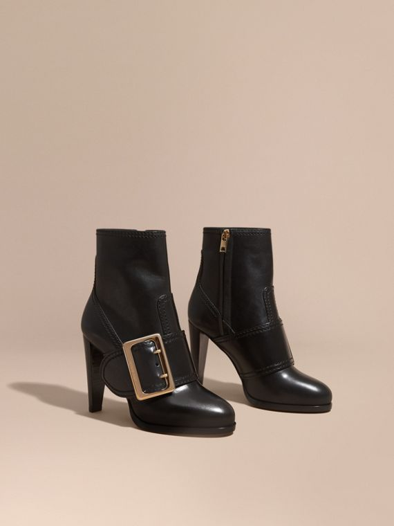 Buckle Detail Leather Platform Boots - Women | Burberry
