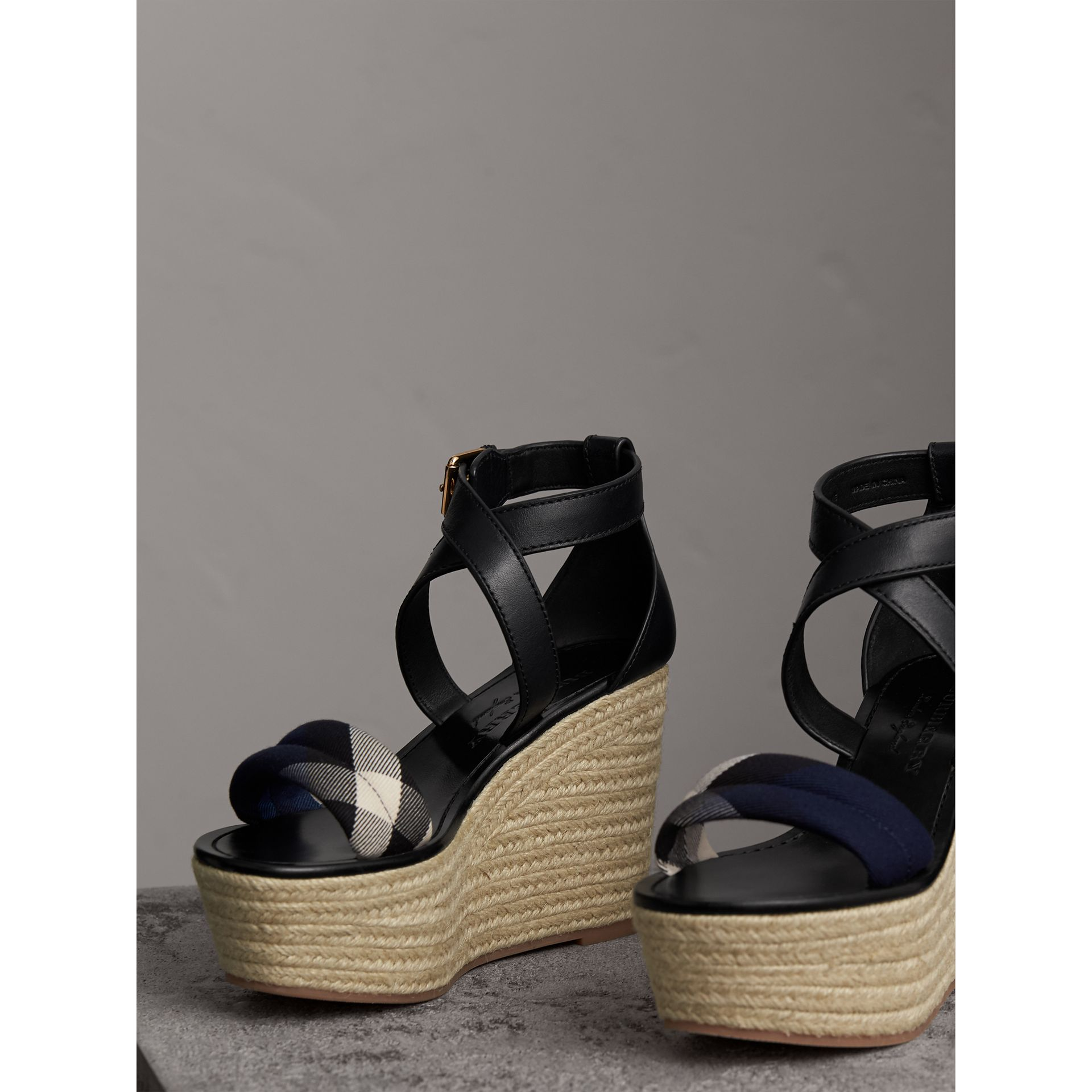 Leather and House Check Platform Espadrille Wedge Sandals in Navy - Women | Burberry - gallery image 4