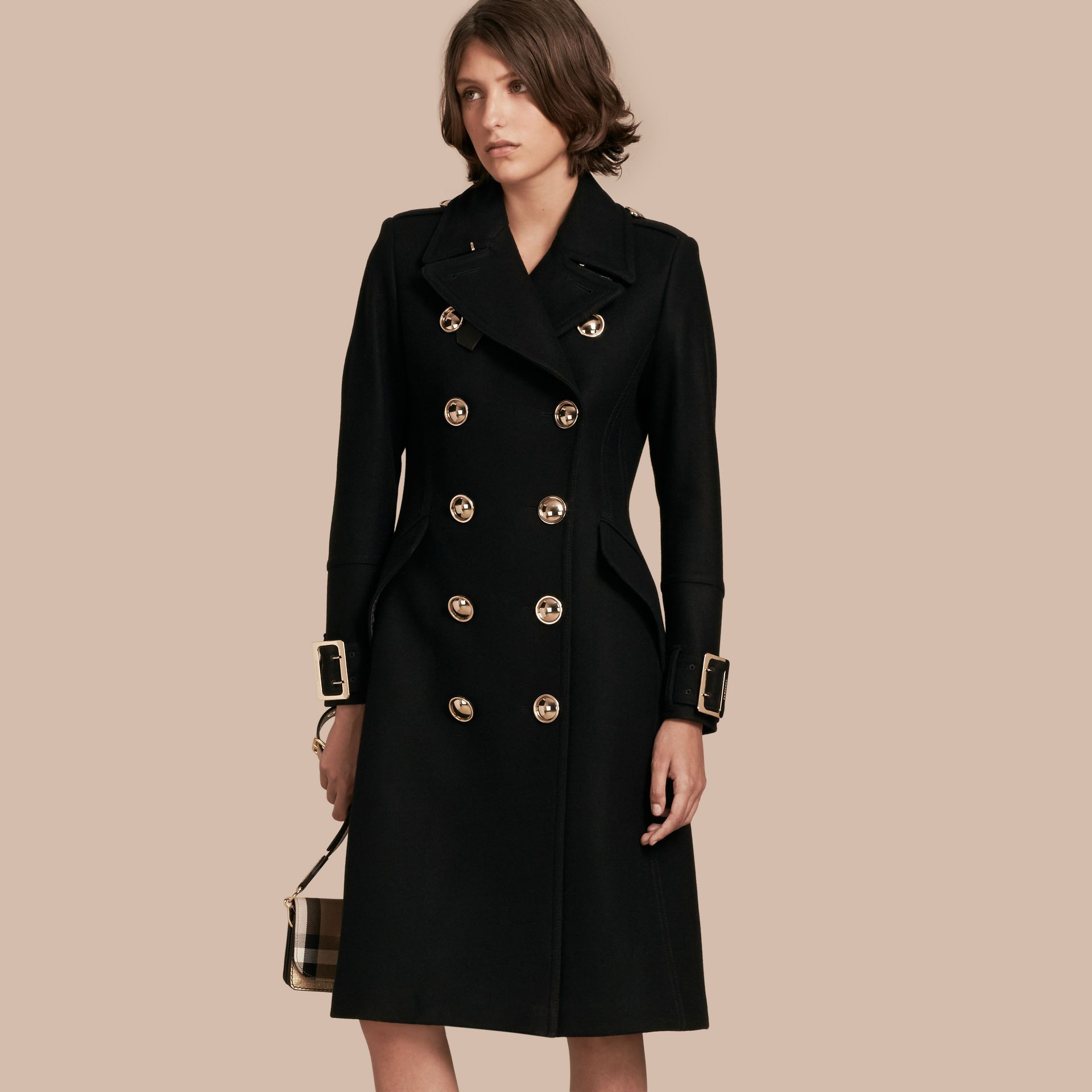Black Wool Cashmere Blend Military Coat - gallery image 1