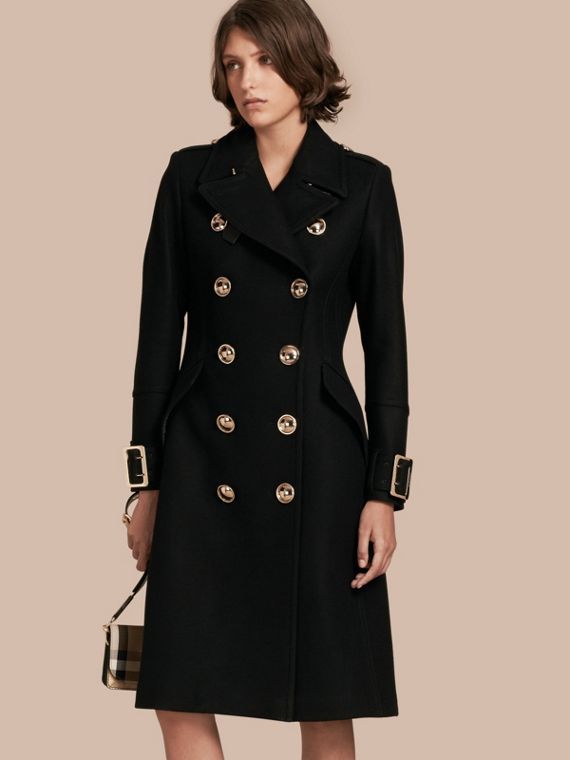 Wool Cashmere Blend Military Coat