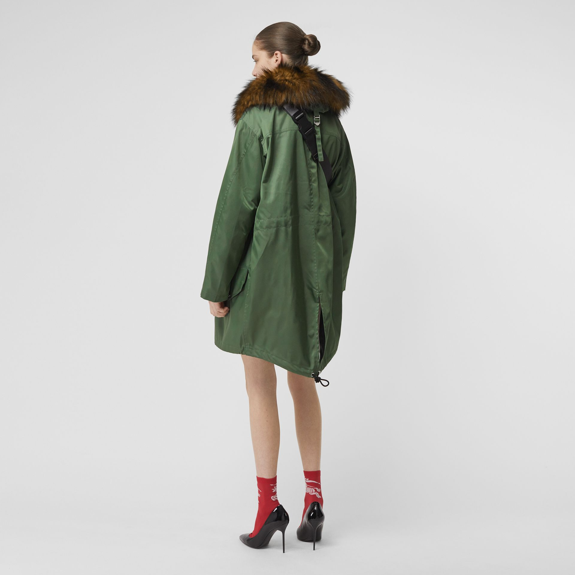 Detachable Faux Fur Trim Hood Parka in Grass Green - Women | Burberry Singapore - gallery image 2