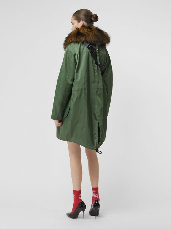 Faux Fur Trim Parka with Detachable Warmer in Grass Green - Women | Burberry - cell image 1