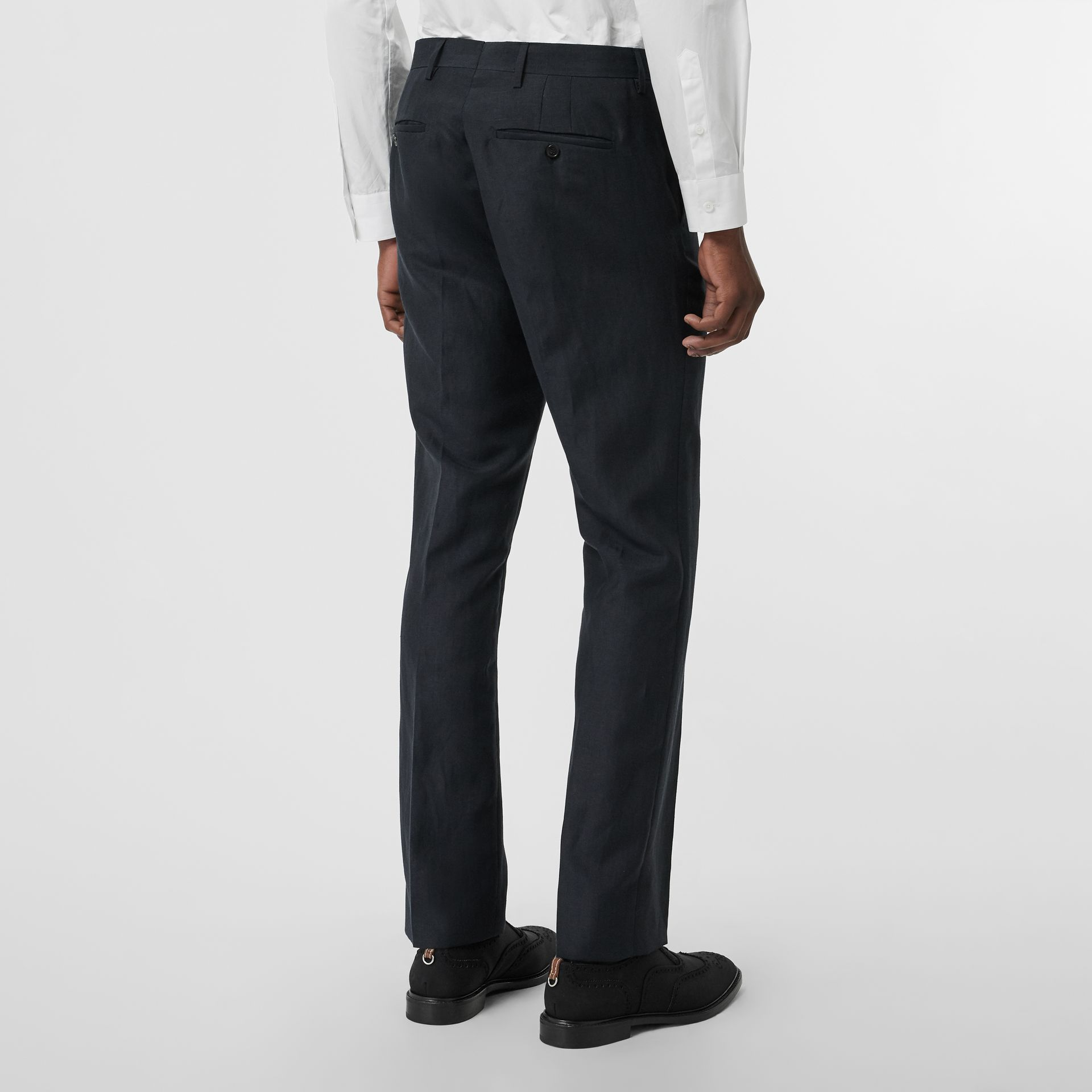 Classic Fit Mohair Linen Silk Tailored Trousers in Navy - Men | Burberry Singapore - gallery image 2