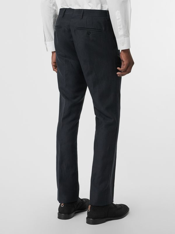 Classic Fit Mohair Linen Silk Tailored Trousers in Navy - Men | Burberry Singapore - cell image 2
