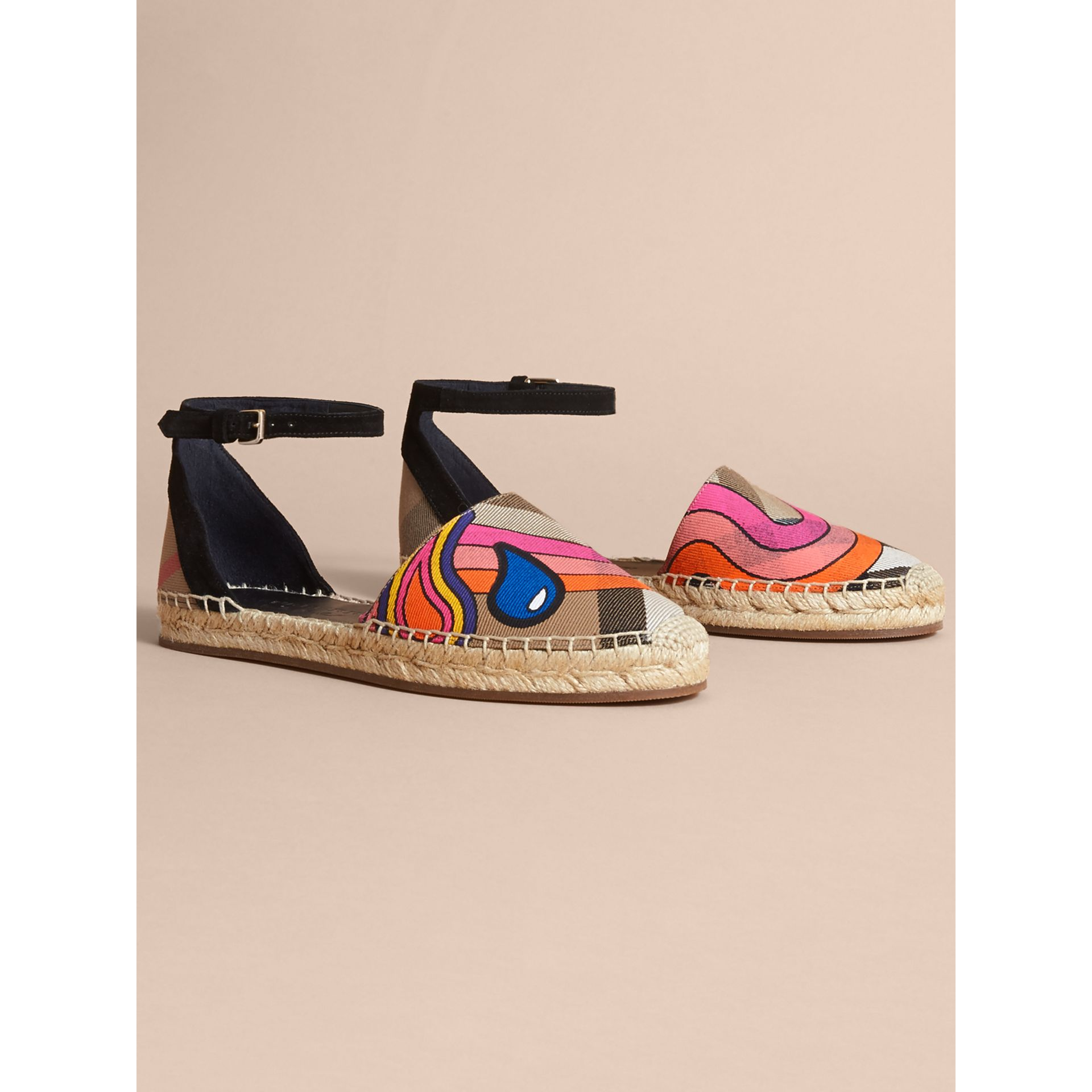 Rainbow Print House Check and Suede Espadrille Sandals - gallery image 1