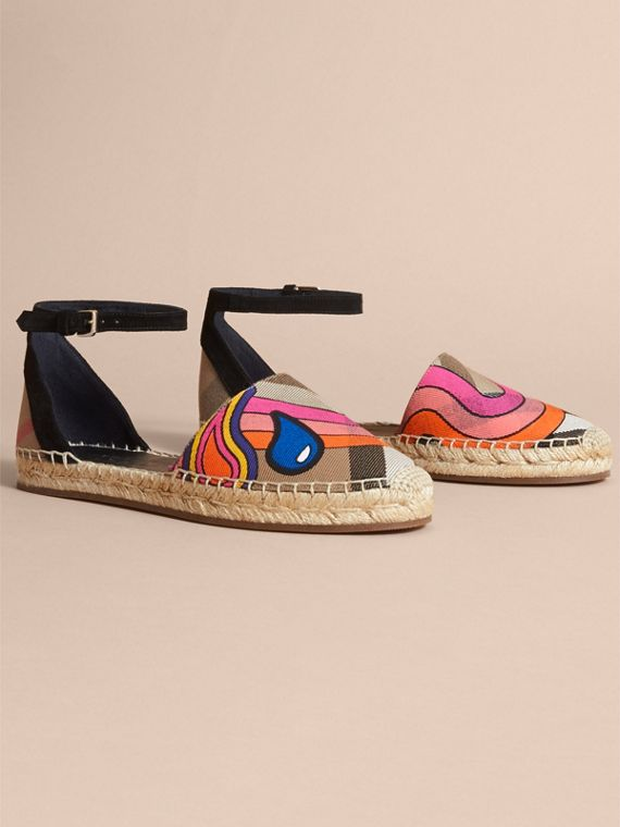 Rainbow Print House Check and Suede Espadrille Sandals