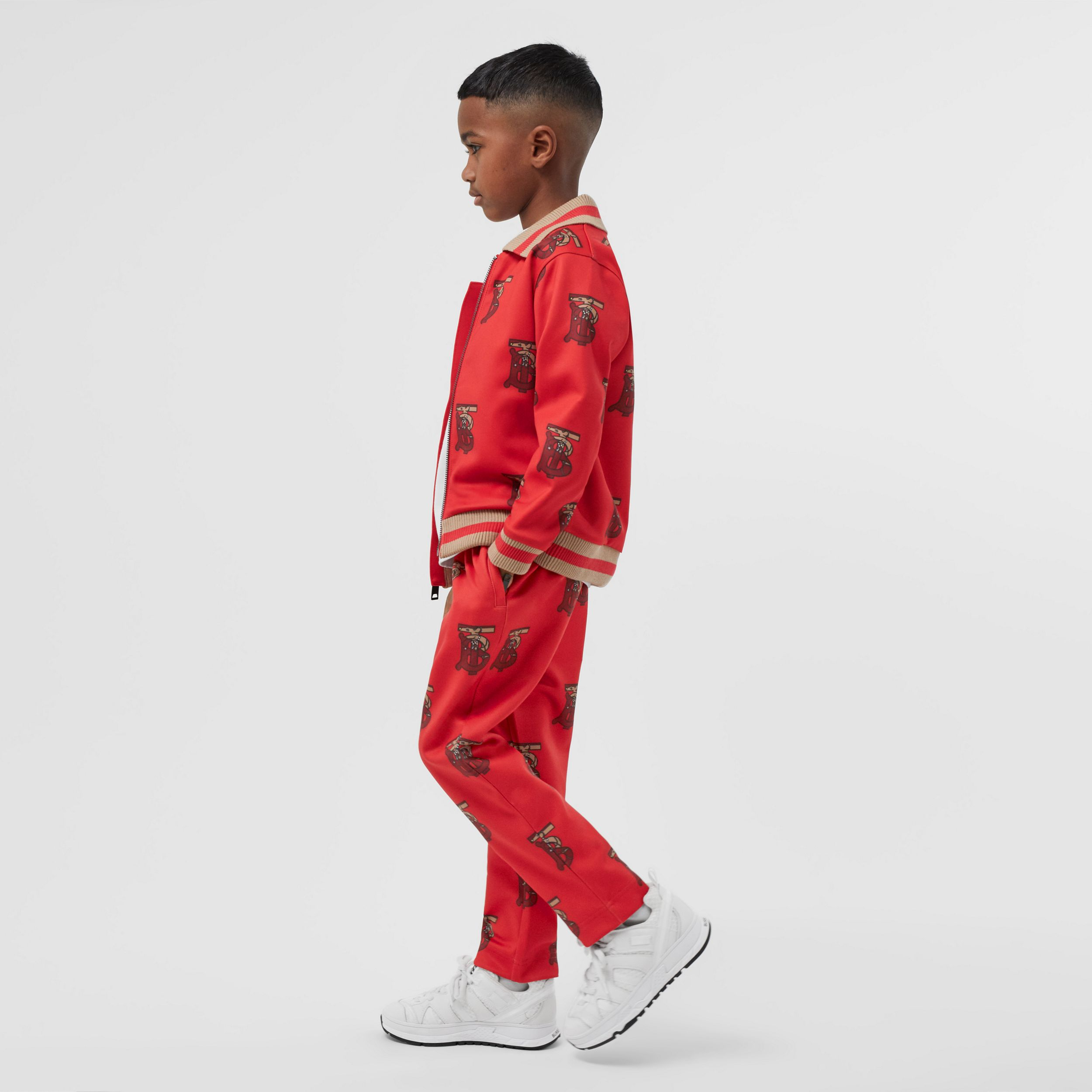 Monogram Motif Neoprene Trackpants in Bright Red | Burberry - 4