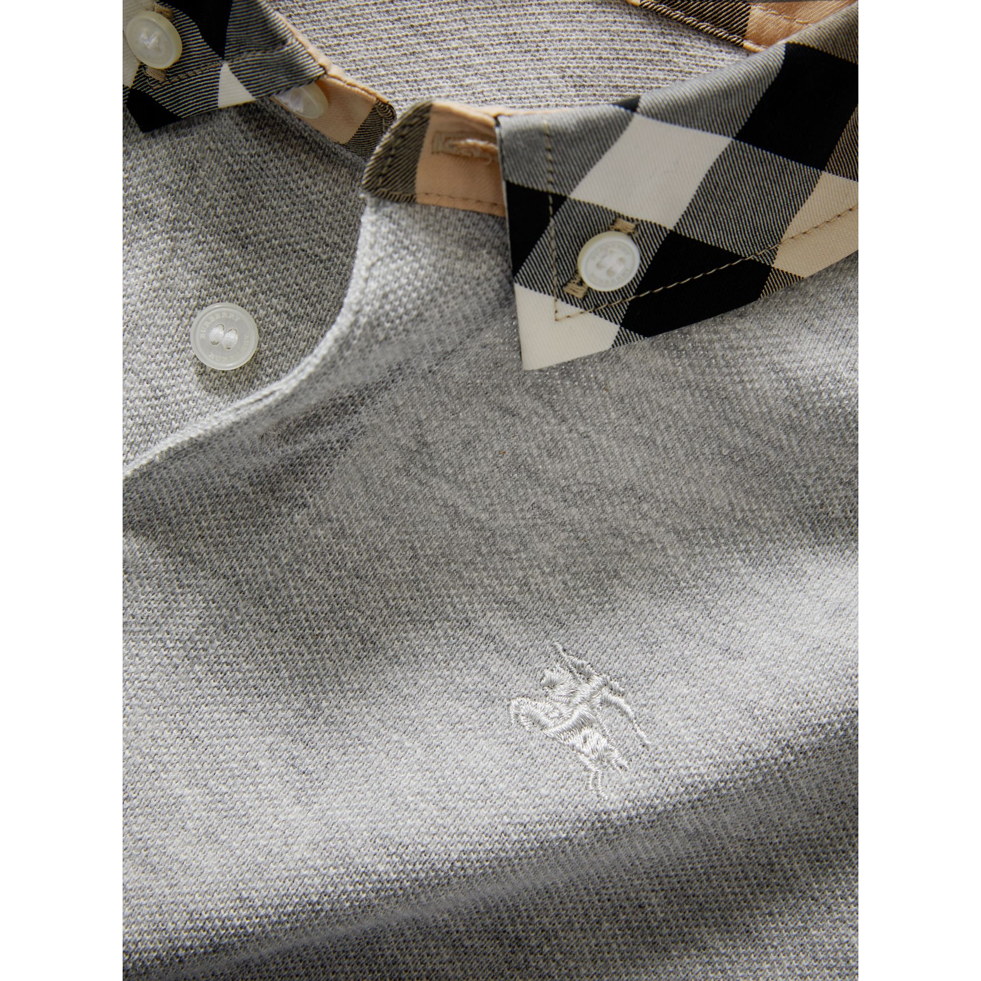Check Collar Polo Shirt in Pale Grey Melange - Boy | Burberry - gallery image 1