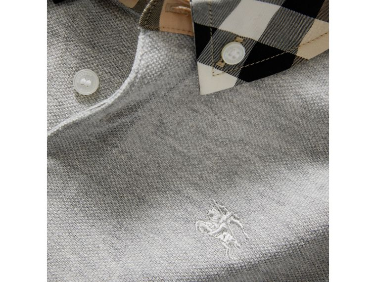 Check Collar Polo Shirt in Pale Grey Melange - Boy | Burberry Hong Kong - cell image 1