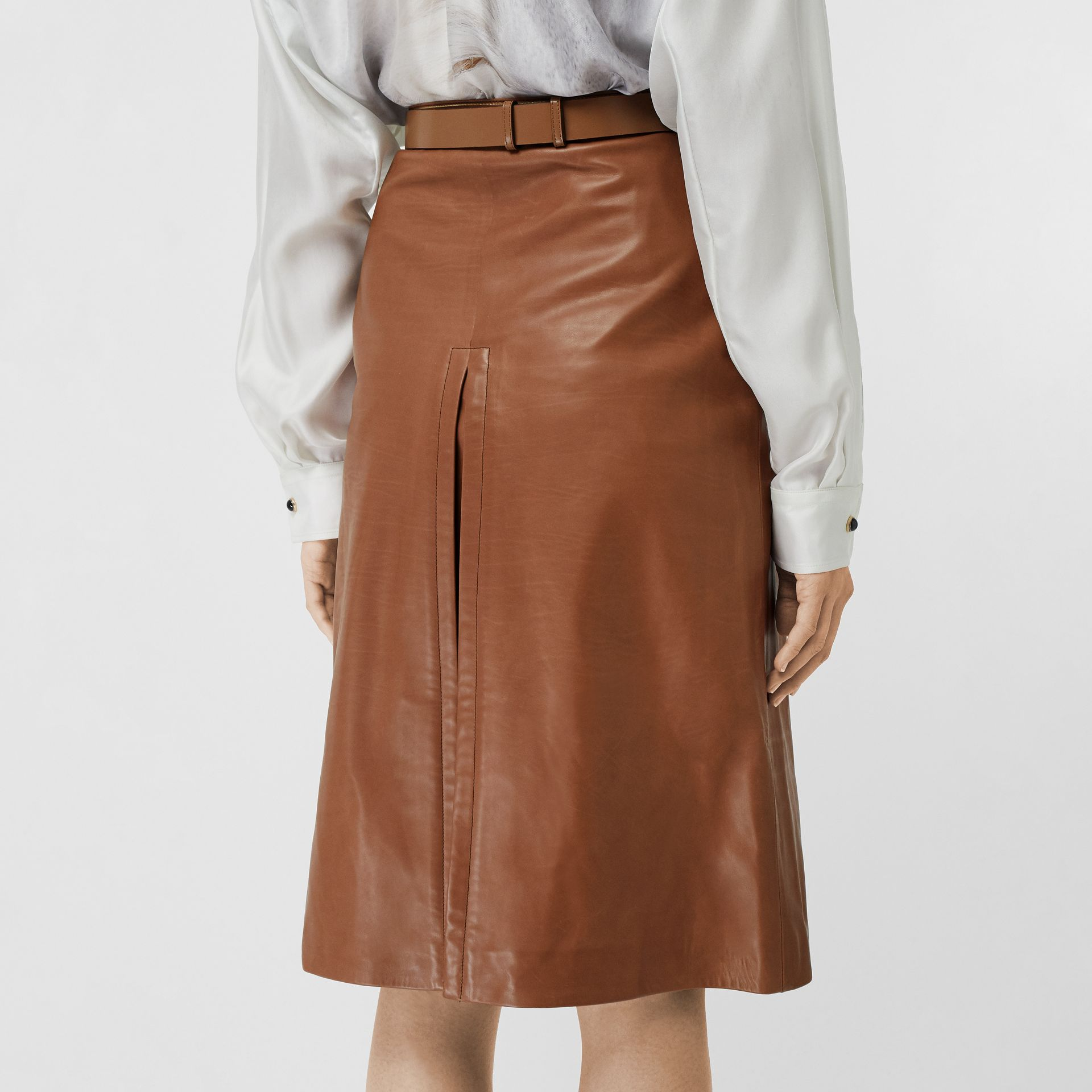 Box Pleat Detail Leather A-line Skirt in Flaxseed - Women | Burberry - gallery image 2