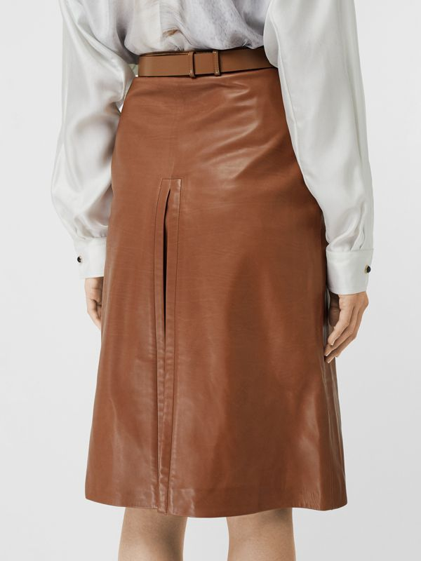 Box Pleat Detail Leather A-line Skirt in Flaxseed - Women | Burberry - cell image 2