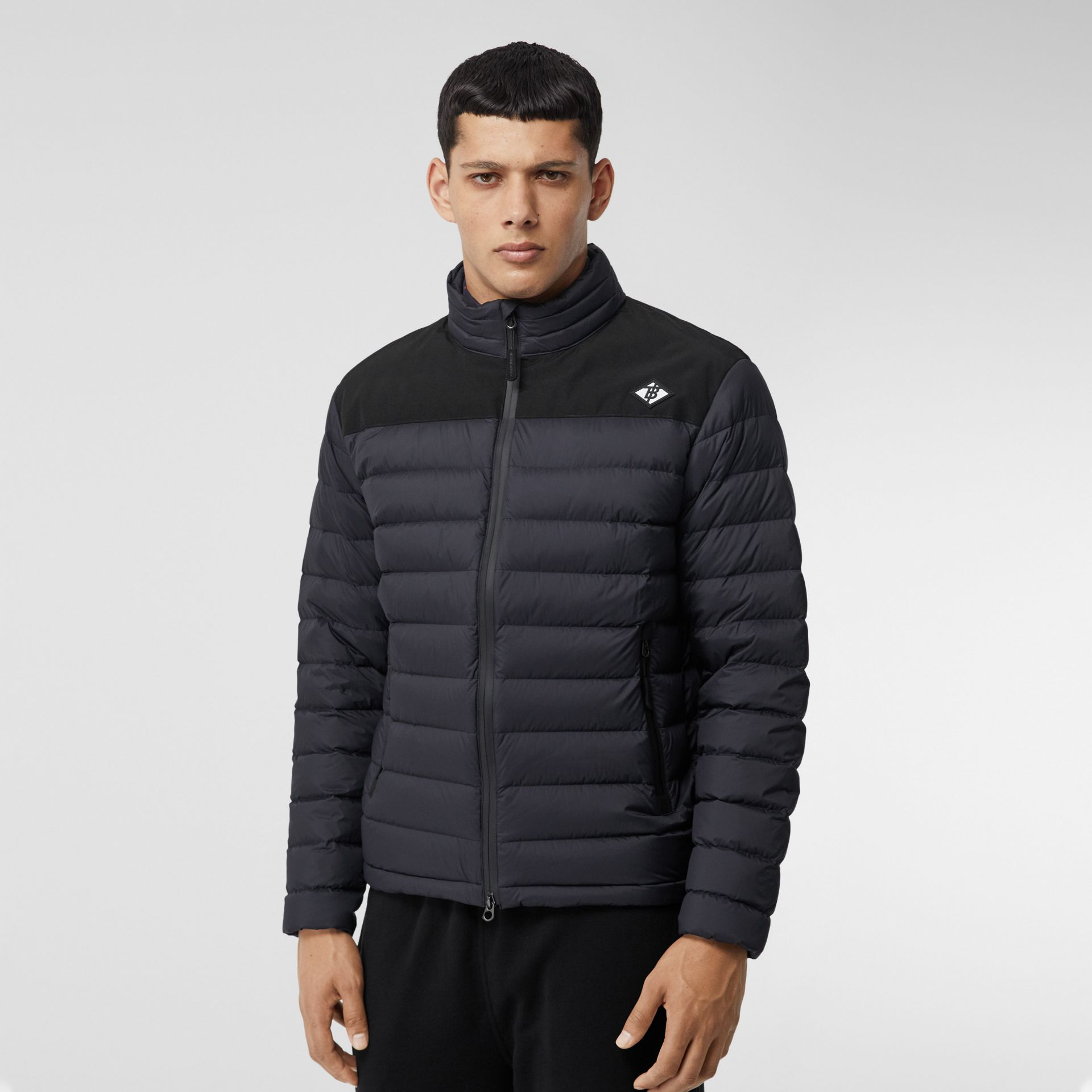 Logo Graphic Lightweight Puffer Jacket in Navy - Men | Burberry - gallery image 6