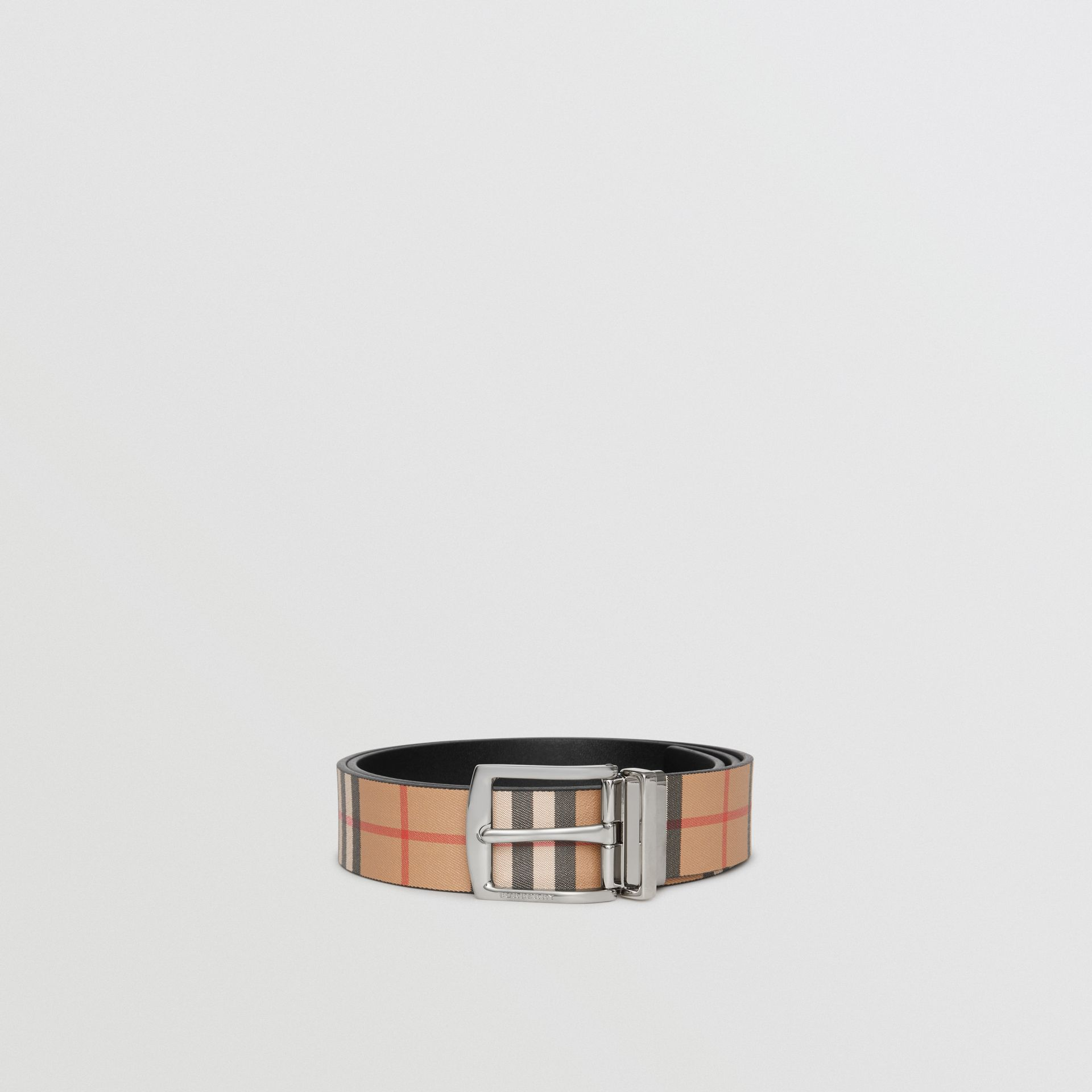 Reversible Vintage Check Leather Belt in Black - Men | Burberry United States - gallery image 4