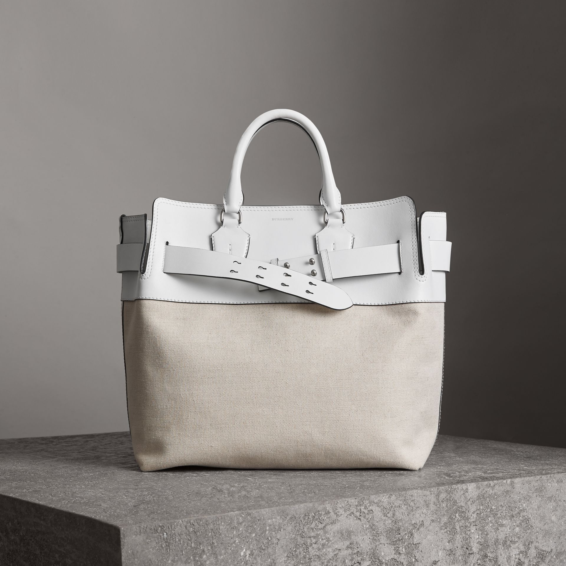 The Large Leather and Canvas Belt Bag in Chalk White | Burberry United States - gallery image 0