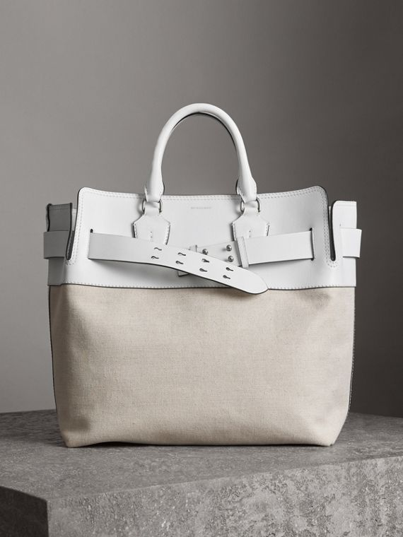 The Large Leather and Canvas Belt Bag in Chalk White