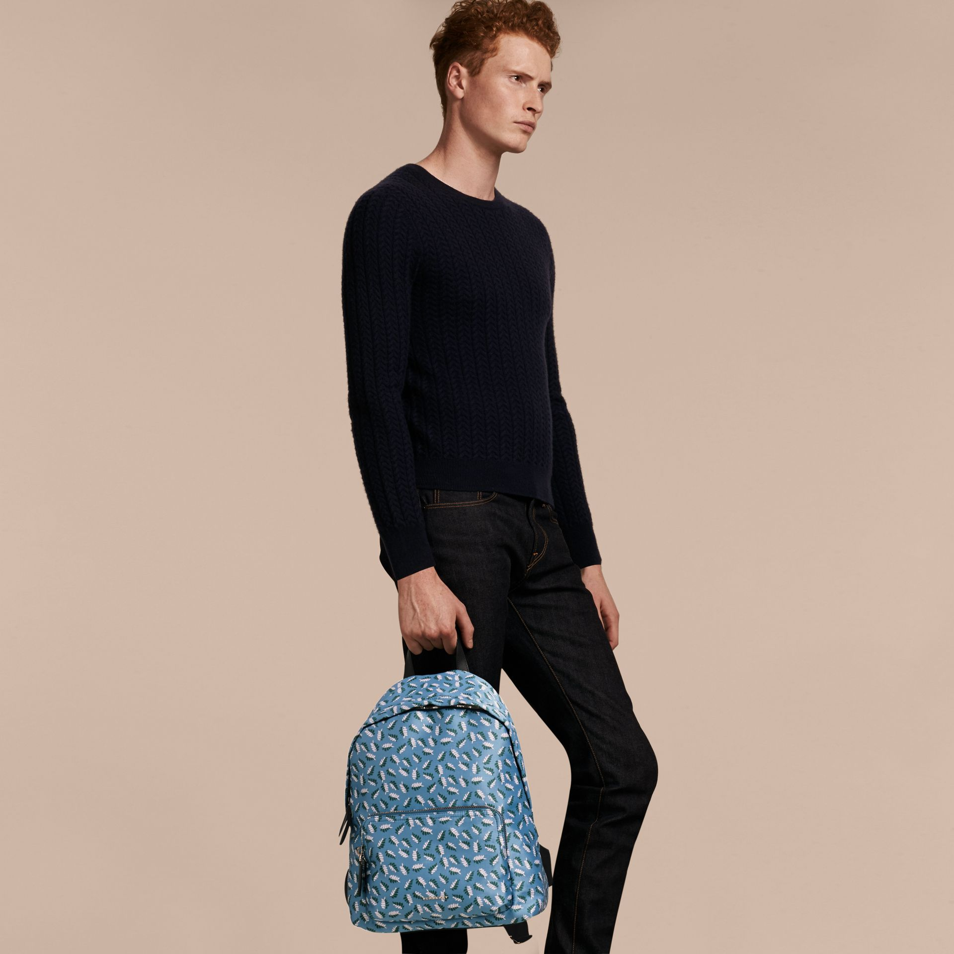 Deep cerulean blue leaf Leaf Jacquard Backpack - gallery image 3