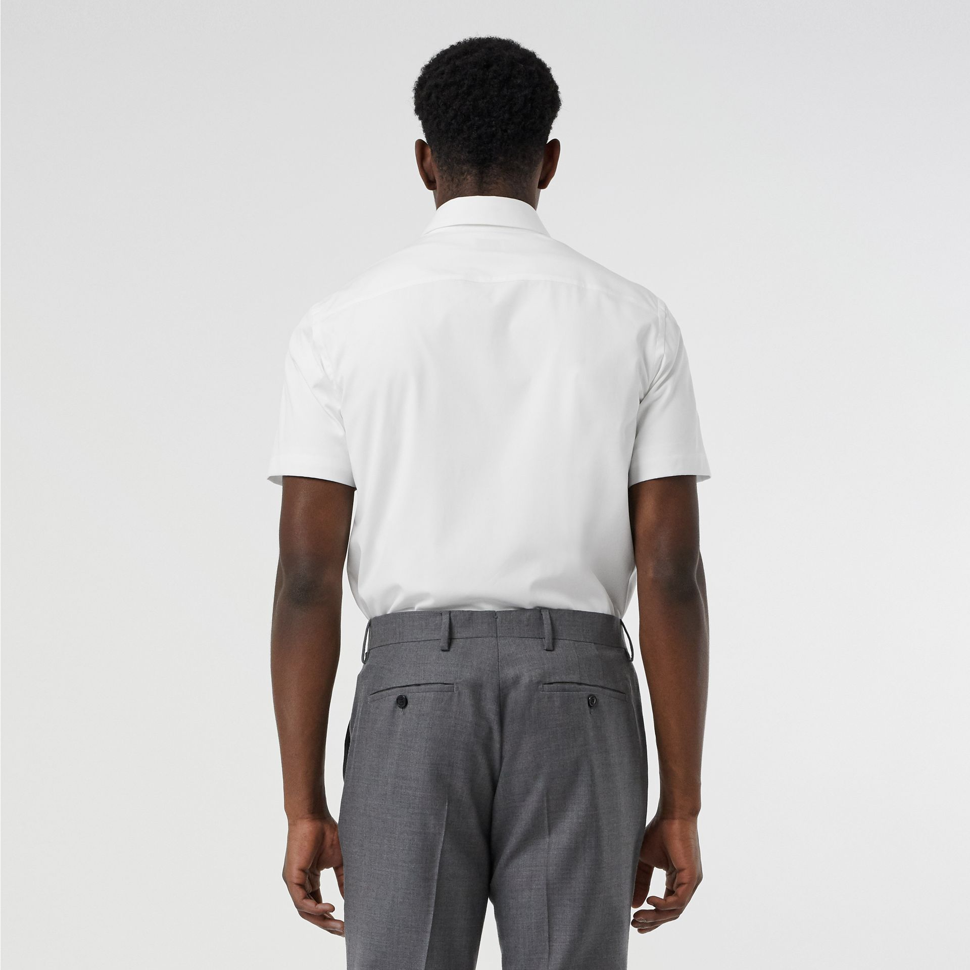 Short-sleeve Monogram Motif Stretch Cotton Shirt in White - Men | Burberry - gallery image 2