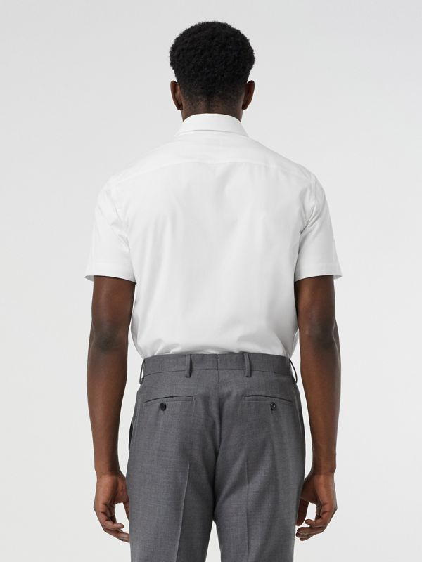 Short-sleeve Monogram Motif Stretch Cotton Shirt in White - Men | Burberry United Kingdom - cell image 2