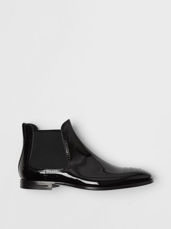 Polished Leather Chelsea Boots in Black