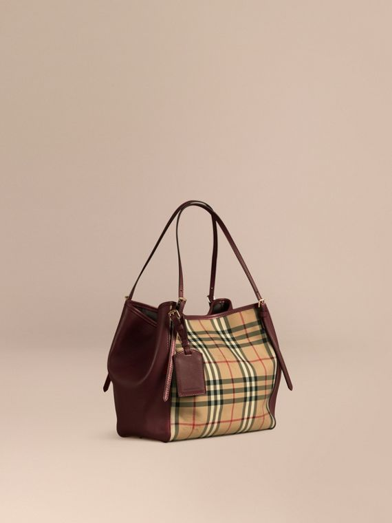 The Small Canter in Horseferry Check and Leather Honey/deep Claret
