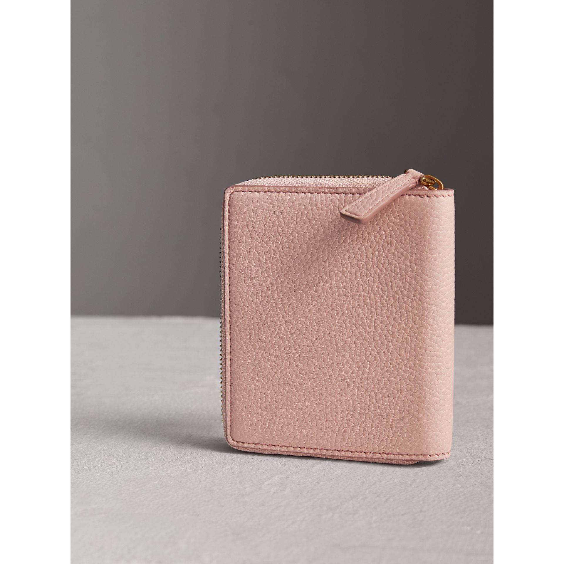 Embossed Grainy Leather Ziparound A6 Notebook Case in Pale Ash Rose | Burberry Singapore - gallery image 2