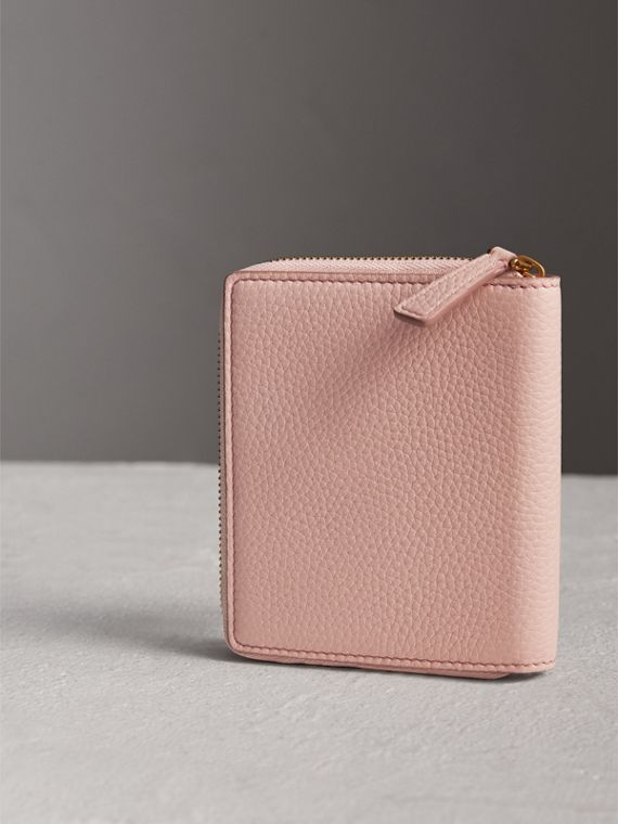 Embossed Grainy Leather Ziparound A6 Notebook Case in Pale Ash Rose | Burberry - cell image 2