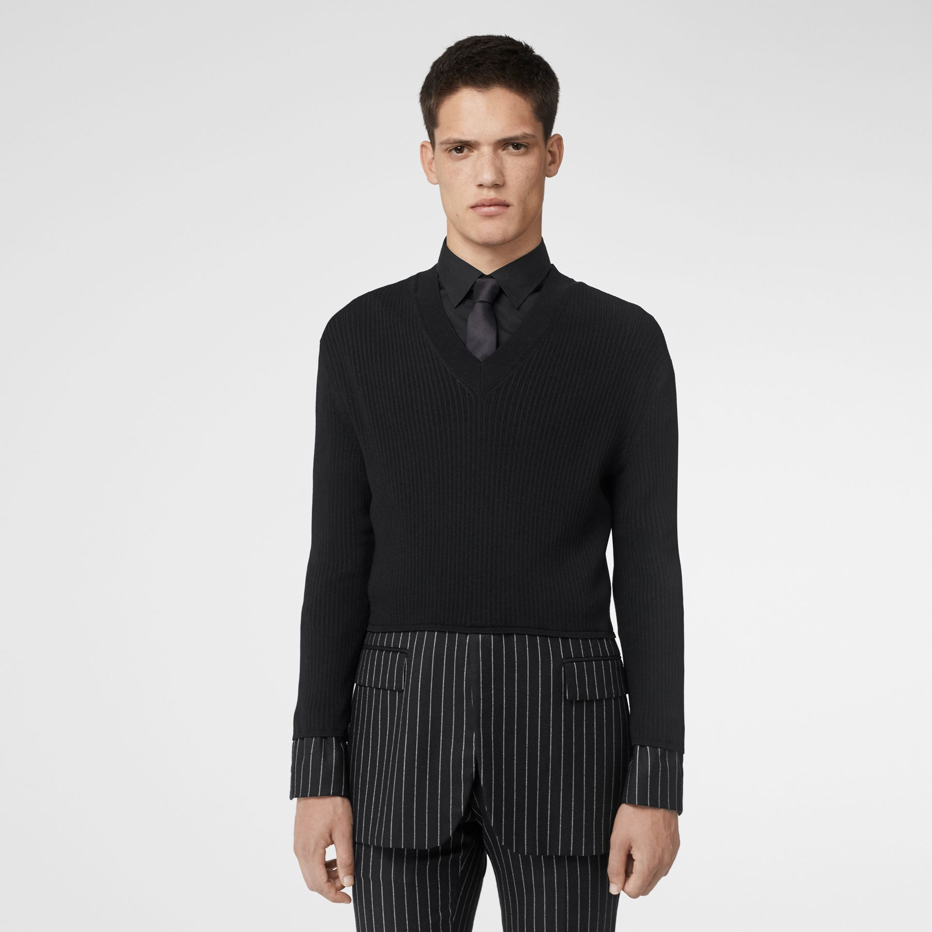 Tailored Panel Rib Knit Silk Blend Sweater in Black | Burberry - gallery image 5