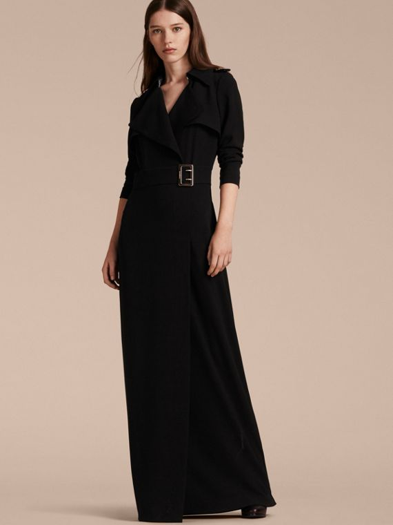 Floor-length Satin-back Crepe Trench Dress