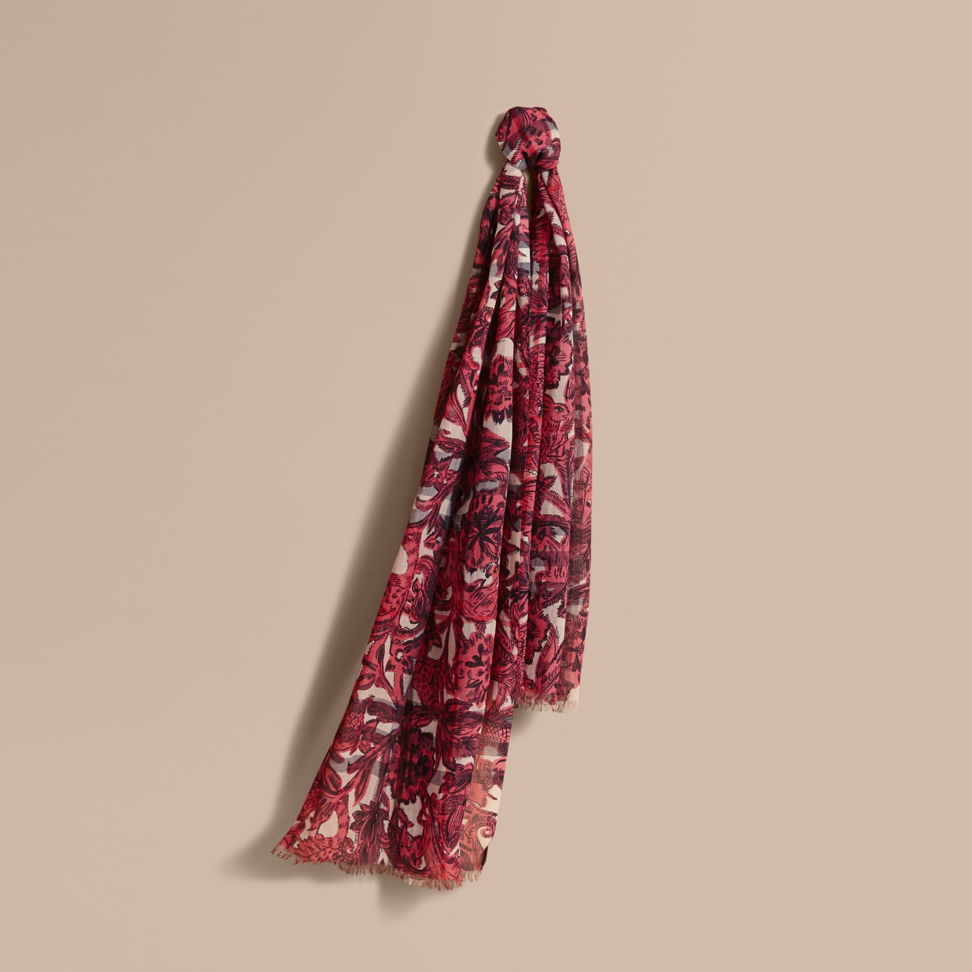 Beasts Print and Check Lightweight Wool Silk Scarf in Pink Azalea - Women | Burberry - gallery image 0