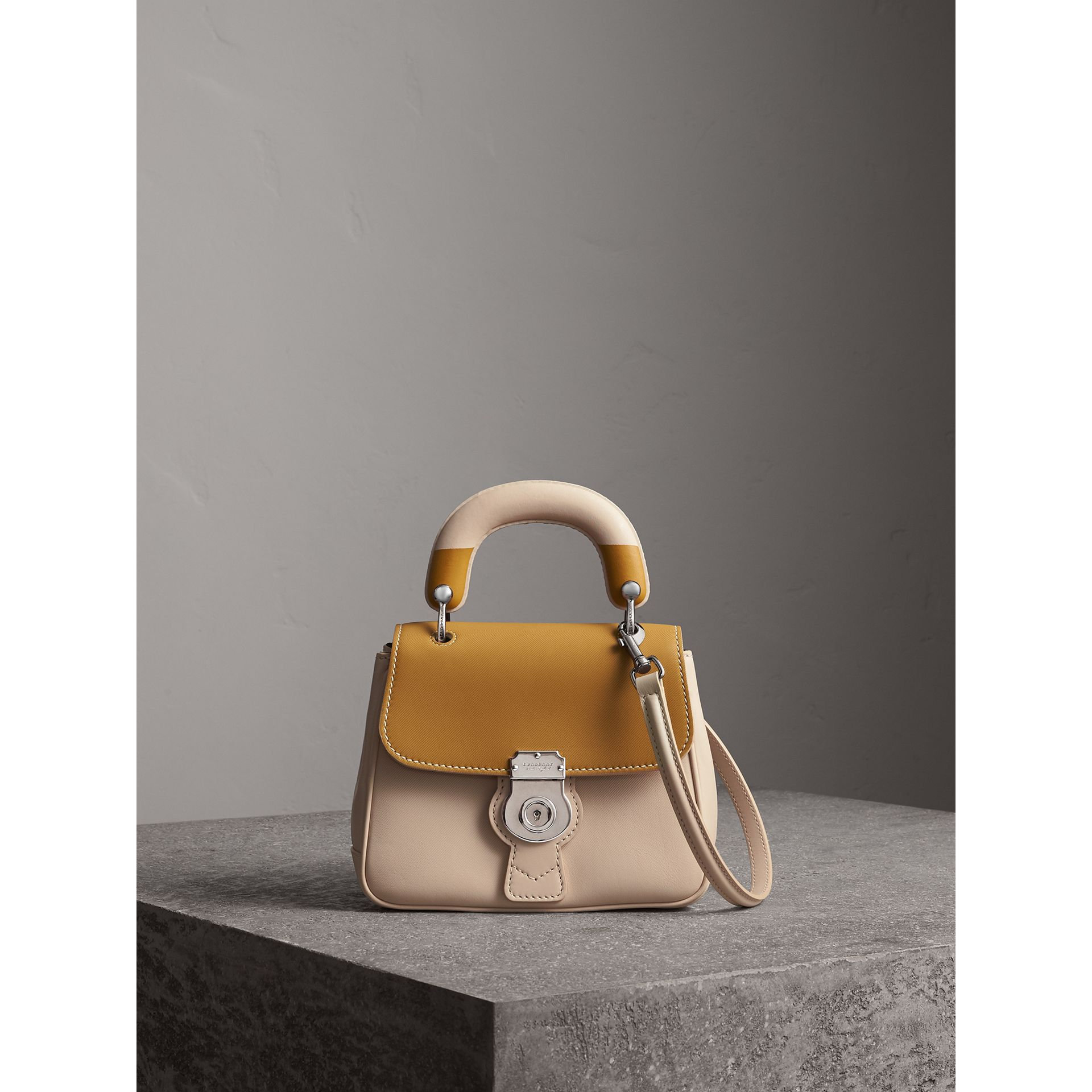 The Small DK88 Top Handle Bag with Geometric Print in Limestone/ochre Yellow - Women | Burberry United Kingdom - gallery image 1