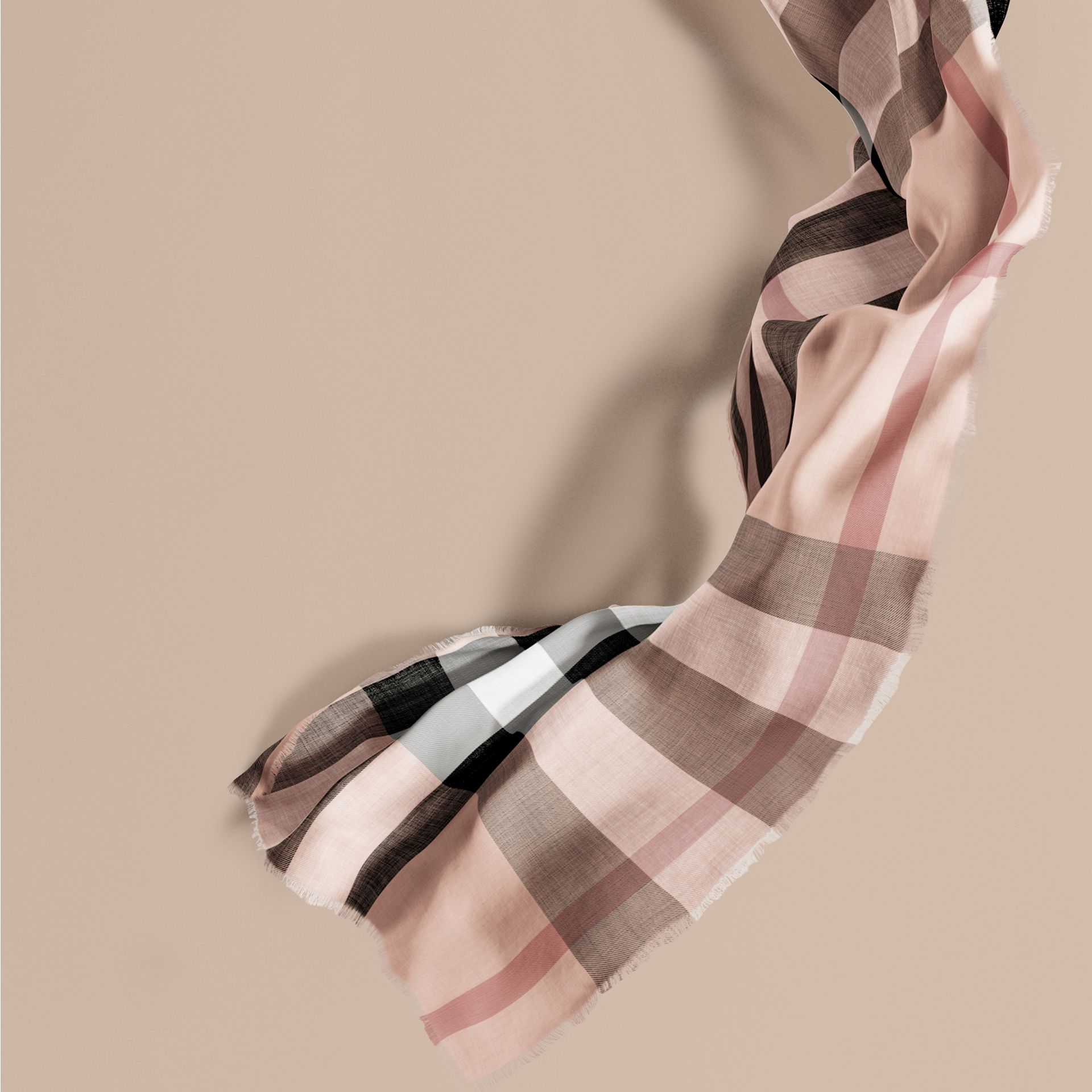 The Lightweight Cashmere Scarf in Check Rose - gallery image 1