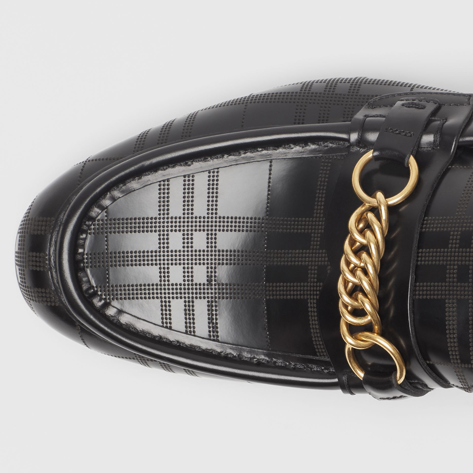 The Perforated Leather Link Loafer in Black - Men | Burberry - gallery image 1