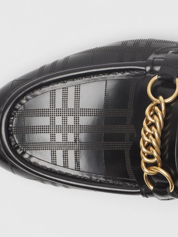 The Perforated Leather Link Loafer in Black - Men | Burberry - cell image 1