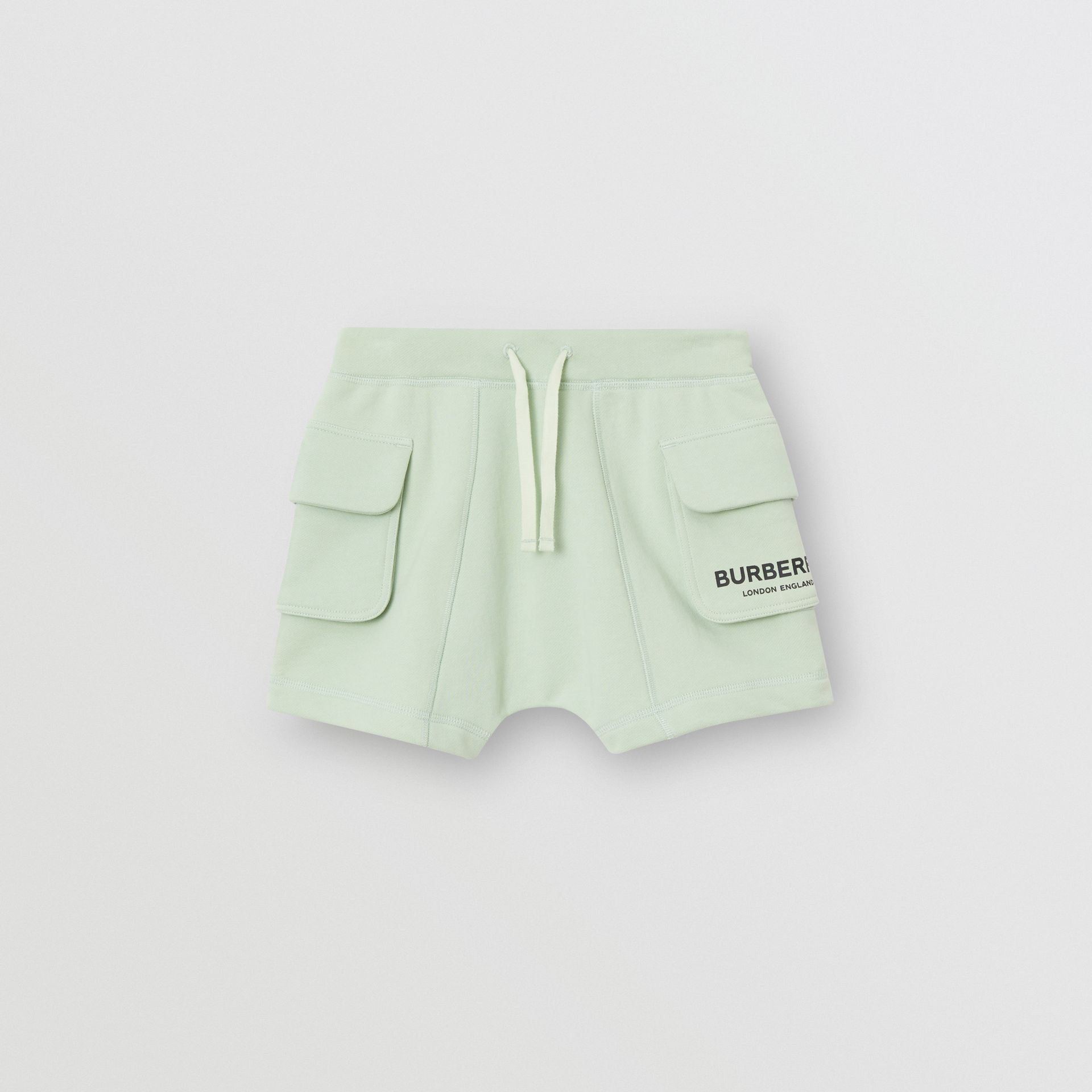 Logo Print Cotton Drawcord Shorts in Pale Mint | Burberry - gallery image 0