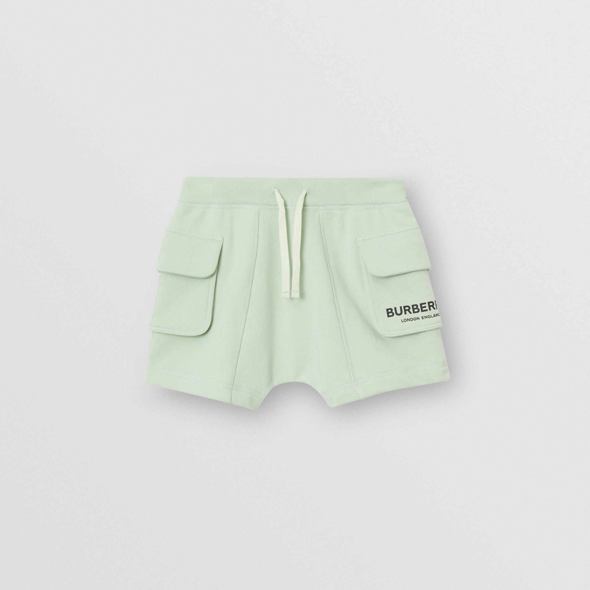 Short à cordon de serrage en coton avec logo (Menthe Pâle) | Burberry - photo de la galerie 0